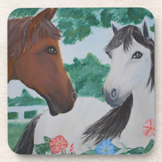 White and Brown Horse couple - acrylic painting Beverage Coaster