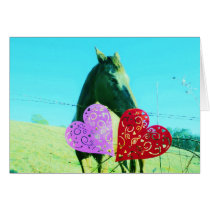 White and Brown horse Valentine Heart Card