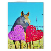 White and Brown horse Valentine Hearts Card