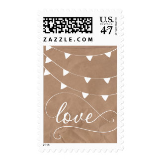 White and Brown Love Banner Bunting Stamp