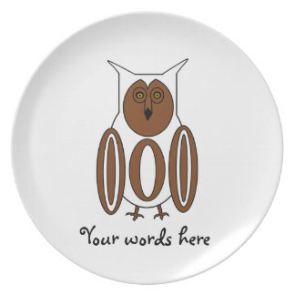 White and brown owl plates