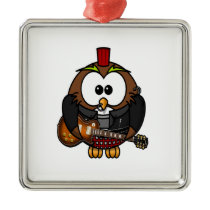 White and brown owl playing a guitar with red hat metal ornament