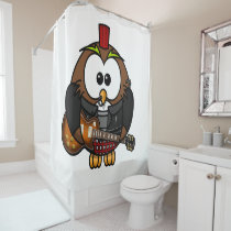 White and brown owl playing a guitar with red hat shower curtain