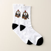 White and brown owl playing a guitar with red hat socks