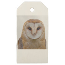 White and Brown Owl Wooden Gift Tags