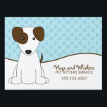 """White and Brown Puppy Pet Care Sign<br><div class=""""desc"""">Custom pet sitting or puppy daycare service yard sign.</div>"""