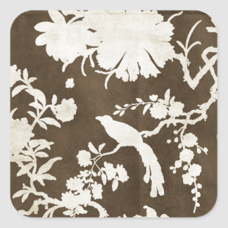 White and Brown Tree Branches Birds Square Sticker