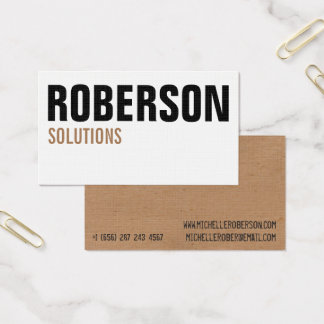 White and brown typography business card