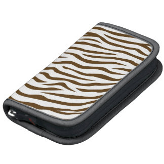 White and Brown Zebra Stripes Animal Print Folio Planner