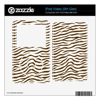 White and Brown Zebra Stripes Animal Print Decals For The iPod Video