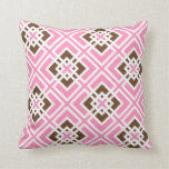 White and Bubblegum Pink & Brown Geometric Squares Pillows