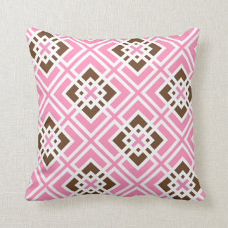 White and Bubblegum Pink & Brown Geometric Squares Throw Pillow