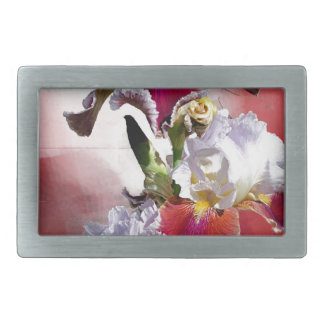 White and Burgundy Irises Belt Buckle