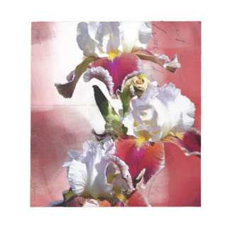 White and Burgundy Irises Notepad
