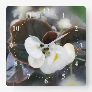 white and burgundy square wall clock