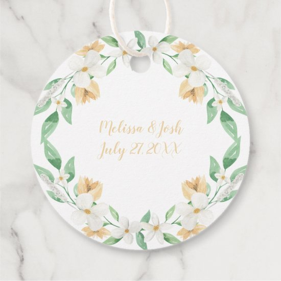 White and Champagne Watercolor Floral Round | Favor Tags