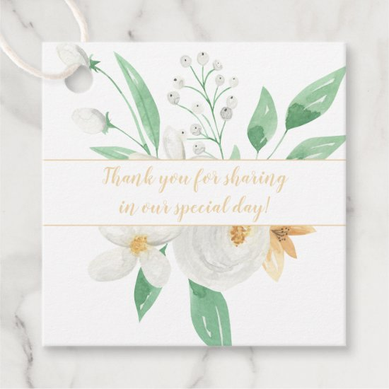 White and Champagne Watercolor Flowers Wedding | Favor Tags