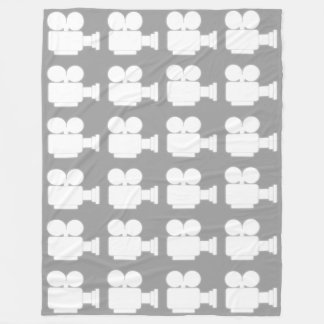 WHITE AND CHARCOAL GRAY CINE CAMERA ICON PATTERN FLEECE BLANKET