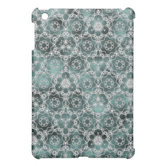 White and cloudy mint triangular pattern cover for the iPad mini