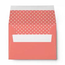 White and Coral Pink Polka Dot Pattern Envelope