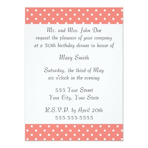White and Coral Pink Polka Dot Pattern 5.5x7.5 Paper Invitation Card