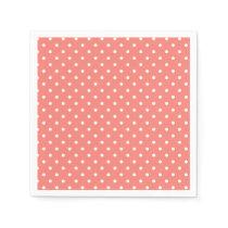 White and Coral Pink Polka Dot Pattern Napkin