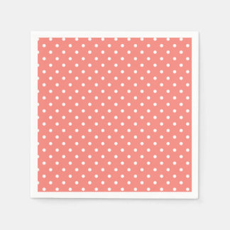 White and Coral Pink Polka Dot Pattern Napkin