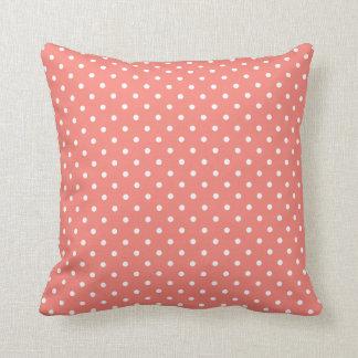 White and Coral Pink Polka Dot Pattern Pillows