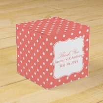 White and Coral Pink Polka Dot Thank You Favor Box