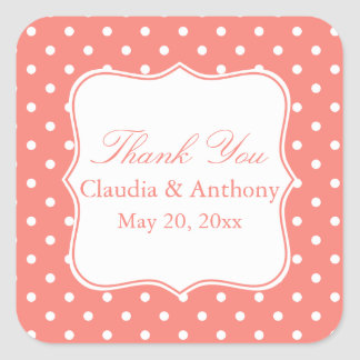 White and Coral Pink Polka Dot Thank You Square Sticker