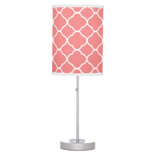 White And Coral Pink Quatrefoil Pattern Table Lamp