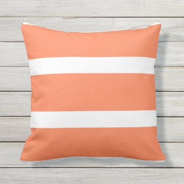 Beach Themed White and Coral Striped Throw Pillow