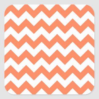 White and Coral Zigzag Pattern Square Stickers