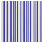 [ Thumbnail: White and Dark Blue Colored Pattern Fabric ]