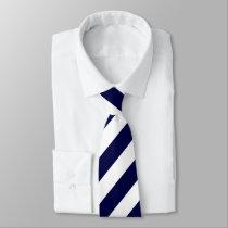 White and Dark Blue Diagonally-Striped Tie