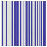 [ Thumbnail: White and Dark Blue Lines/Stripes Pattern Fabric ]