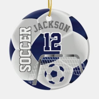 White and Dark Blue Personalize Soccer Ball Ceramic Ornament