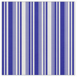 [ Thumbnail: White and Dark Blue Striped Pattern Fabric ]