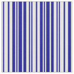 [ Thumbnail: White and Dark Blue Stripes/Lines Pattern Fabric ]