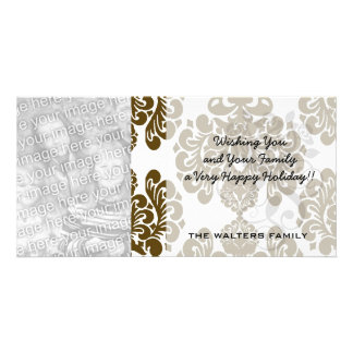 white and dark brown elegant ornamental damask photo greeting card