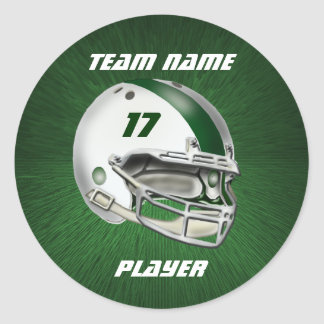 White and Dark Green Football Helmet Classic Round Sticker