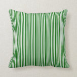 [ Thumbnail: White and Dark Green Striped/Lined Pattern Pillow ]
