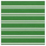 [ Thumbnail: White and Dark Green Stripes Pattern Fabric ]
