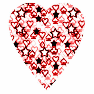 White and Dark Red Heart. Patterned Heart Design. Cutout