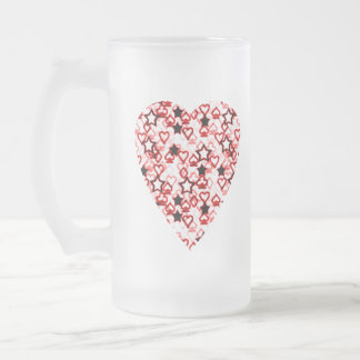 White and Dark Red Heart. Patterned Heart Design. Frosted Glass Beer Mug