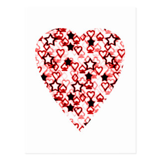 White and Dark Red Heart. Patterned Heart Design. Postcard