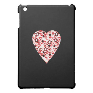 White and Dark Red Heart. Perned Heart Design. iPad Mini Case