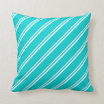 [ Thumbnail: White and Dark Turquoise Colored Pattern Pillow ]