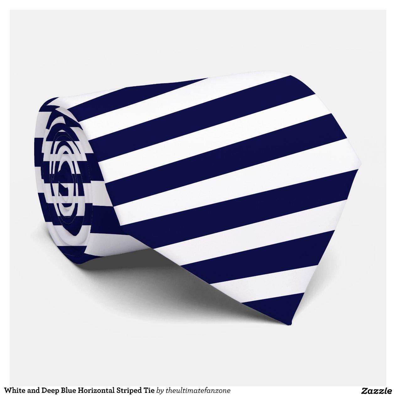 white and blue horizontal striped tie zazzle