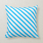 [ Thumbnail: White and Deep Sky Blue Colored Striped Pattern Throw Pillow ]